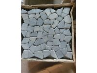 Flat rock grey marble mosaic tiles