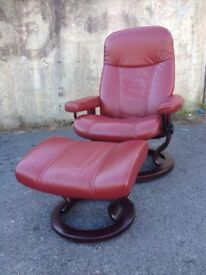 Ekornes Stressless Reclining Chair / Armchair and footstool in Red Leather