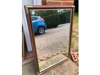 Large Vintage Dark Wood & Brass Wall Mirror