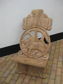 Hand carved African Lion Wood Chair - Zambia