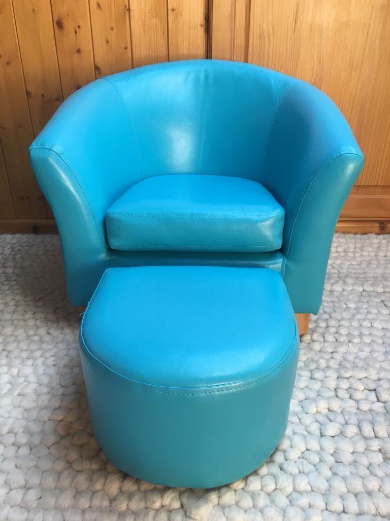Kids flux leather blue tub chair & stool   in Bridgend   Gumtree