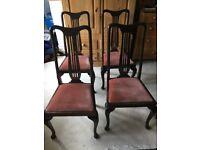 4 dark wood antique dining chairs
