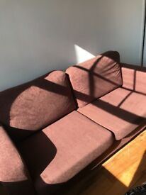 Burgundy/brown two piece sofa