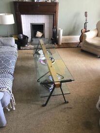 stunning home office warm solid oak. beautiful italian made glass coffee table. stunning home office warm solid oak