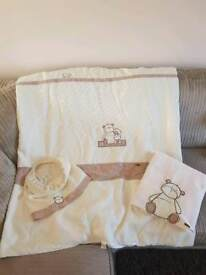 Mamas & Papas nursery cot or cotbed duvet with matching blanket and lampshade