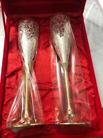 Wine Brass Glasses Home Decor