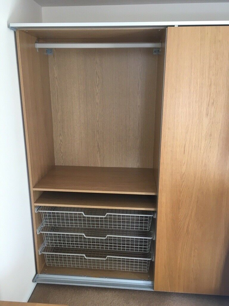 Ikea Pax Malm Double Wardrobe With Mirrored Sliding Door
