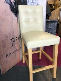 New wooden and faux leather bar stool