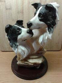 Border fine Art. Two Collie Dog Heads Figurine.