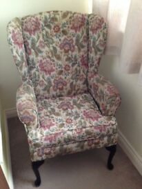 HSL Floral High Back Winged Arm Chair