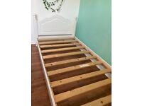 White single bed frame wooden