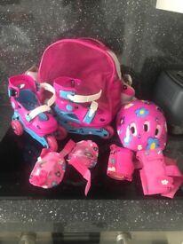 Girls roller skate set