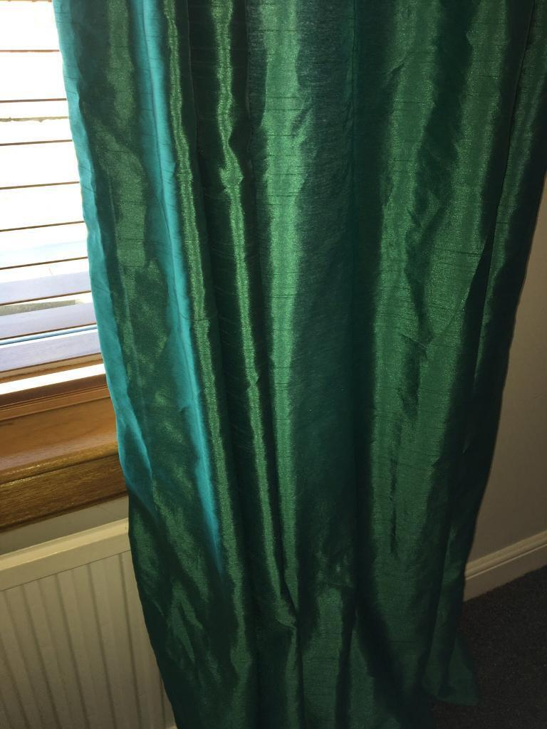 Extra Long Teal Lined Curtains 66 Width X 108 Drop In
