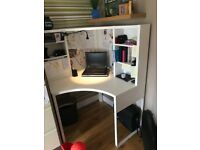 White corner desk. Ikea MICKE workstation. Office chair fully adjustable. Like new condition.