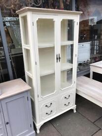 Shabby Chic French Cream & Glass Display Unit
