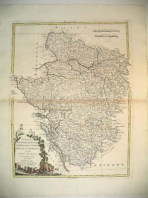 1776 Genuine Antique Hand Colored Map W Central Coast France. Zatta