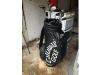 Golf Clubs: Set of various Wilson irons and Slazenger, Wilson wedge and Callaway carry bag