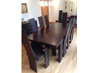 Table, sideboard and 12 chairs