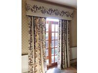 Designer cream tapestry curtains extra long 8ft plus pelmet and pole