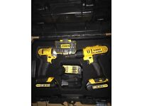 DeWalt set Impact+ Drill+ bits+ batteries+charger+box brand new