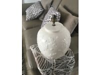 Two identical cream china table lamps.....without shades