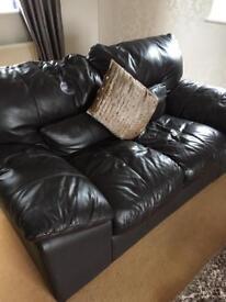 DFS dark brown leather 4 piece suite