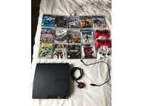 PlayStation 3 Slim Console with 3 controllers and 13 games