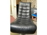Faux Leather Swivel Chair & Stool/Serving Tray