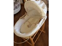 Moses basket, stand and bedtime hugs bedding