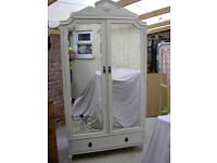 BEAUTIFUL VINTAGE FRENCH PAINTED LARGE ARMOIRE SHABBY CHIC/WARDROBE