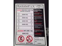 SAFE WORK LOAD / WEIGHT LOAD SIGNS AND STICKERS ( PALLET RACKING / SHELVING /STORAGE )
