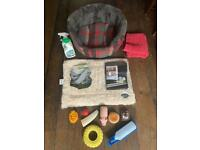 Dog accessories - bed, furry mat, new stair/door gate, new harness, toys etc