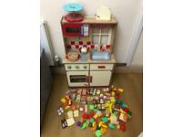 Wooden Kitchen Play Set With Food And More !!
