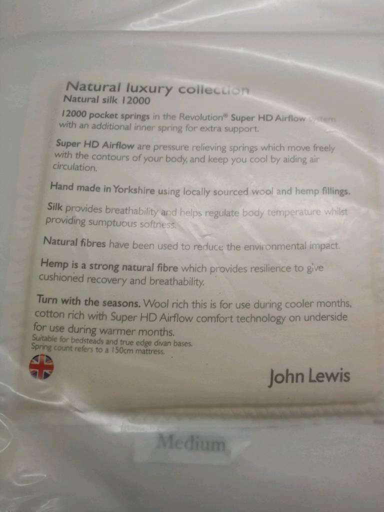 John lewis natuarl silk 12000 double mattress