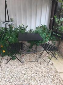 cast iron cafe style table and chairs set