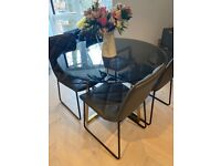 Glass Dining Table + 4 Chairs