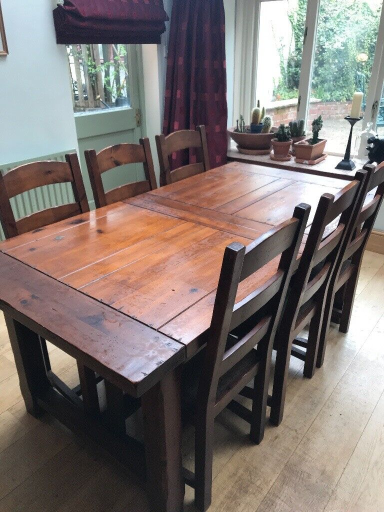 John Lewis Heavy Wood Rustic Dining Table With Six Chairs