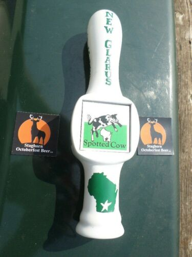 NEW GLARUS SPOTTED COW STAGHORN OCTOBERFEST BEER TAP HANDLE WISCONSIN TAPPER BAR