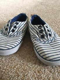 Boys H&M Striped Canvas Shoes Brand New