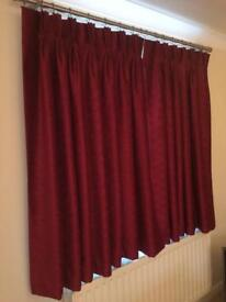 Curtains - red, handmade, fully lined, excellent condition, ready to hang