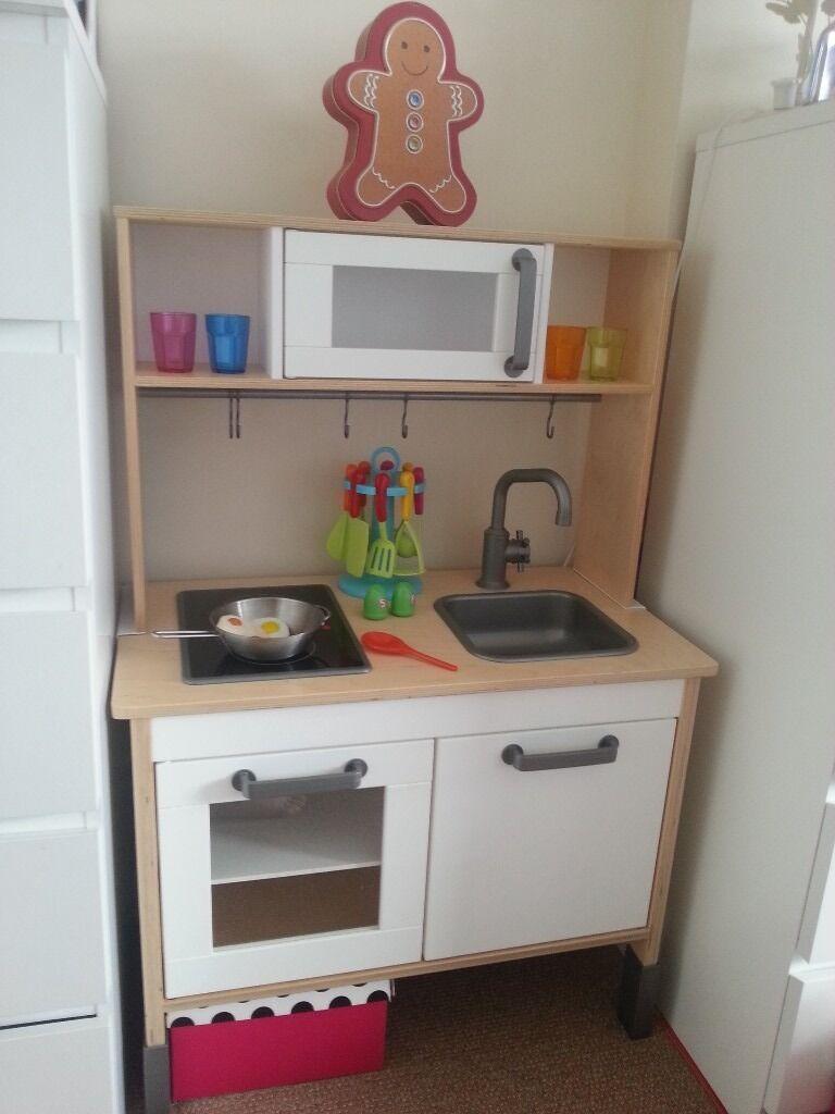 Kids Wooden Toy Kitchen Storage Cupboard With Accessories