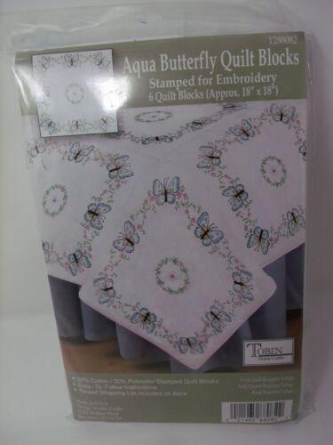 "Tobin 6 Stamped Quilt Blocks AQUA BLUE BUTTERFLY 18"" Squares"