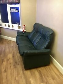 Two seater recliner leather sofa
