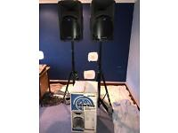 PA SYSTEM: MACKIE CFX12 MKII MIXER, 2xMACKIE SRM450 SPEAKERS, 2x STANDS,and CABLES