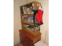 Pine chest of drawers and shelving unit