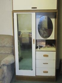 2 pce wardrobe 1 pce half draws and medison cabinet and full length mirror