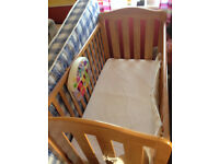 Mamas and Papas Cot, includes musical cot toy and mattress