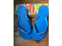 Havaianas Mens Brasil Brazil Logo Flip Flops/Sandals Blue Sky Size UK 9-10, EUR 45-46 BRA 43-44