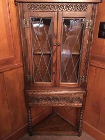 Old charm medium oak corner cabinet