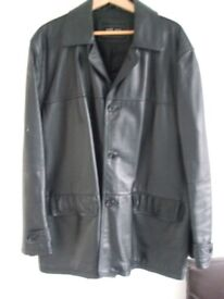 GENTS LEATHER JACKET, SOFT LEATHER WITH BLACK LINING, SIZE XL-XXL,